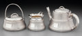 Silver Holloware, American:Tea Sets, A Three-Piece Wood & Hughes Japanesque Partial Gilt Silver TeaService, New York, circa 1880. Marks: W & H, STERLING,113A... (Total: 3 Items)