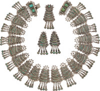 A Matilde Poulat Mexican Silver and Turquoise Necklace, Brooch and Earring Jewelry Suite, Mexico City, circa 1965-197