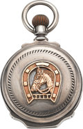 Timepieces:Pocket (pre 1900) , Waltham 18 Size Silver Box Hinge Hunter With Gold Horse &Horseshoe Center Pieces. ...