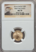 Modern Bullion Coins, 2014 $5 Tenth-Ounce Gold Eagle, First Releases MS70 NGC. NGC Census: (0). PCGS Population: (1227). MS70....