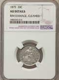 Twenty Cent Pieces, 1875 20C -- Rim Damage, Cleaned -- NGC Details. AU. NGC Census: (19/362). PCGS Population: (52/463). CDN: $525 Whsle. Bid f...