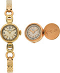Timepieces:Other , Vacheron & Constantin Lady's Gold Wristwatch & Gold Cufflink Watch. ... (Total: 2 Items)