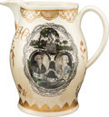 Political:3D & Other Display (pre-1896), Thomas Jefferson, George Washington, Samuel Adams and John Hancock:Polychrome Liverpool Pitcher....