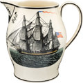 "Antiques:Decorative Americana, Polychrome ""Navy"" Liverpool Pitcher...."