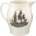 Antiques:Decorative Americana, Polychrome Sailing Ship Liverpool Pitcher....