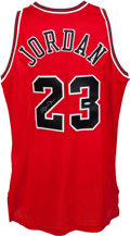 Basketball Collectibles:Uniforms, 1996-97 Michael Jordan UDA Signed Chicago Bulls Jersey. . ...