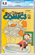 Golden Age (1938-1955):Cartoon Character, Walt Disney's Comics and Stories #96 (Dell, 1948) CGC VF/NM 9.0 White pages....