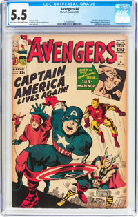 The Avengers #4 (Marvel, 1964) CGC FN- 5.5 Light tan to off-white pages