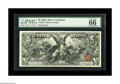 Large Size:Silver Certificates, Fr. 268 $5 1896 Silver Certificate PMG Gem Uncirculated 66. Whilecensus figures are yet to be published, this is the highes...