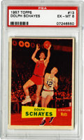 Basketball Cards:Singles (Pre-1970), 1957-58 Topps Dolph Schayes #13 PSA EX-MT 6. The Hall of Fame greatDolph Schayes helped to power his Syracuse Nats to an N...