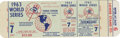 Baseball Collectibles:Tickets, 1963 World Series Unused Ticket . The 1963 World Series matched thedefending champion New York Yankees against the Los Ang...
