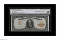 Large Size:Gold Certificates, Fr. 1168 $10 1907 Gold Certificate CGA Gem Uncirculated 66. Incredibly bold color on this quite scarce number. Only about 50...