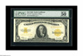 """Large Size:Gold Certificates, Fr. 1173 $10 1922 Gold Certificate PMG About Uncirculated 50. PMG comments: """"Great Color""""...we don't know why since it looks..."""