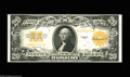 Large Size:Gold Certificates, Fr. 1187 $20 1922 Gold Certificate Very Choice New. A bit too tightacross the bottom for the full Gem grade, but Superb in ...
