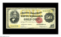 Large Size:Gold Certificates, Fr. 1195 $50 1882 Gold Certificate Fine. There is a small tear atthe left edge of this very scarce $50 Gold Certificate. Fe...