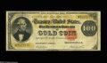 Large Size:Gold Certificates, Fr. 1213 $100 1882 Gold Certificate Fine. There is a paper-cliprust stain from the top edge into Benton's forehead, and the...