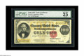 """Large Size:Gold Certificates, Fr. 1215 $100 1922 Gold Certificate PMG Very Fine 25. Decently margined, evenly circulated Gold C-Note. PMG notes: """"Foreign ..."""