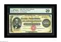 Large Size:Gold Certificates, Fr. 1216a $500 1882 Gold Certificate PMG Very Fine 20. A new note to the Census, which now numbers in the mid-30s for this r...