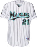 Baseball Collectibles:Uniforms, 2004 Josh Beckett Game Worn & Signed Florida Marlins Jersey....