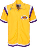 Basketball Collectibles:Uniforms, 1992-93 James Worthy Game Worn Los Angeles Lakers Warmup Jacket....
