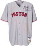 Baseball Collectibles:Uniforms, 2004 Manny Ramirez 32nd Home Run Game Worn Boston Red Sox Jersey....