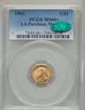 Commemorative Gold, 1903 G$1 Louisiana Purchase, McKinley Gold Dollar MS66+ PCGS.CAC....