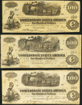 Confederate Notes:1862 Issues, T39 $100 1862;. T40 $100 1862. Two Examples.. ... (Total: 3 notes)