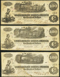 Confederate Notes:1862 Issues, T39 $100 1862. Two Examples;. T40 $100 1862.. ... (Total: 3 notes)