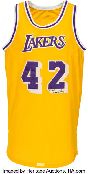new style 73a87 30512 Circa 1983 James Worthy Game Worn Los Angeles Lakers Jersey ...