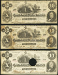 Confederate Notes:1862 Issues, T46 $10 1862. Three Examples.. ... (Total: 3 notes)