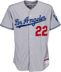 Baseball Collectibles:Uniforms, 2015 Clayton Kershaw Game Worn Los Angeles Dodgers Jersey with MLB Hologram, Photo Matched & Worn When Consecutive Scoreless I...