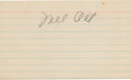 Baseball Collectibles:Others, 1950's Mel Ott Signed Index Card....
