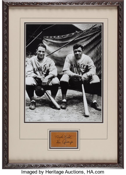 8d7f88c0c Baseball Collectibles:Others, Circa 1930 Babe Ruth & Lou Gehrig Signed  Cut SignatureDisplay