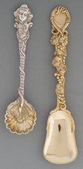 Silver Flatware, British, Six George Frederick Pinnel Partial Gilt Silver Salt Spoons and SixJohn Wilmin Figg Gilt Silver Salt Shovels, London, 1834... (Total:12 Items)