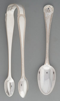A Twelve-Piece Francis Higgins II Silver Demitasse Spoon Set with George Aldwinckle Sugar Tongs, London, circa 1863-1