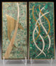 Two Sigfrido Pineda Mixed Metal and Mosaic Hardstone Plaques, Taxco, 20th century Marks: Sigi 11-1/2 inches high x 5 i...
