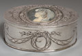 Silver Holloware, Continental, A Hanau Silver Vanity Box, late 19th century. Marks: (crowned N),(crowned lion rampant), (crowned L). 1-7/8 h x 5-1/8 w x 3...