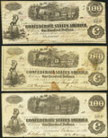 Confederate Notes:1862 Issues, T40 $100 1862. Three Examples.. ... (Total: 3 notes)