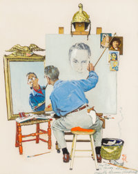Norman Rockwell (American, 1894-1978) Study for Triple Self Portrait, 1960 Oil on photographic paper