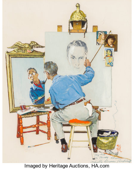 Norman Rockwell (American, 1894-1978) Study for Triple Self Portrait, 1960 Oil on photographic paper laid on panel 11...