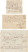 Autographs:Military Figures, Revolutionary War Receipts (3) for Supplies for Captain Edward Ellis' Company, Including One Signed by Black Soldiers. ... (Total: 3 Items)