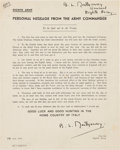 """Autographs:Military Figures, Bernard Law Montgomery World War II Printed Address to the Troops Signed """"B. L. Montgomery / General / Eighth Army...."""