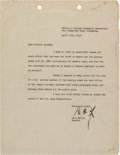 Autographs:Military Figures, Chou En-lai Typed Letter Signed....