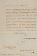 Autographs, Catherine the Great, Empress of Russia, Manuscript Letter Signed....