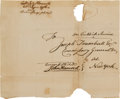 Autographs:Statesmen, John Hancock Franking Signature on a Cover Addressed in His Hand....