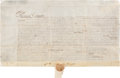 Autographs:Statesmen, [Founding of Yorktown]. Governor Thomas Dongan Signed LandTransaction....