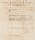 Autographs:Statesmen, John Hancock Signed Military Appointment Issued During theRevolutionary War. ...