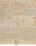 Autographs:U.S. Presidents, George Washington and Thomas Jefferson Three Language Ship's Papers Signed...