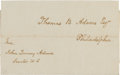 Autographs:U.S. Presidents, John Quincy Adams Address Panel Signed with a Free FrankSignature....