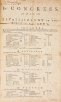 Miscellaneous:Broadside, [American Revolution]. Second Continental Congress BroadsideAnnouncing Resolutions for the Establishment of the AmericanArmy...